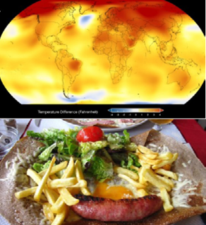 Combined image: top - global map; bottom - plate of food