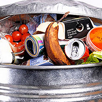 Image of wasted food in garbage can