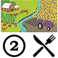 Farm scene graphic followed by the number two followed by fork icon