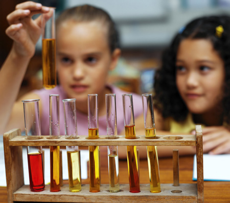 Children looking at test tubes