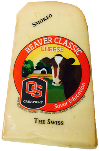 Wedge of Smoked Swiss variety of Beaver Classic Cheese