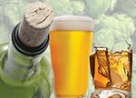 Image of wine botte, pilsner glass of beer, glass of distilled spirit with hops in background